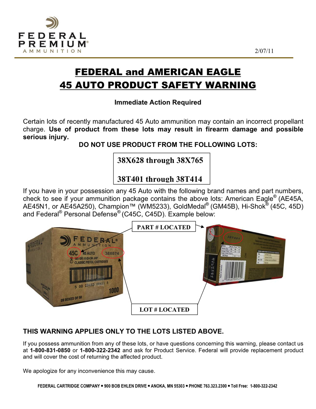 Federal and American Eagle .45 Auto Safety Warning and Ammunition Recall
